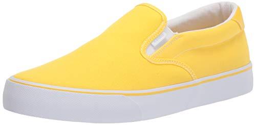 Lugz Women's Clipper Classic Slip-on Fashion Sneaker, Yellow/White, 8.5