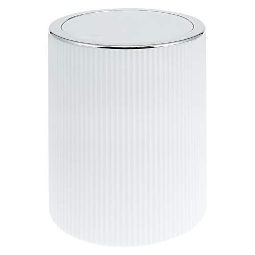 bremermann Kosmetikeimer GAVELLO mit Schwingdeckel // Badeimer mit Rillendekor, Kunststoff 5,5 Liter (Weiß)