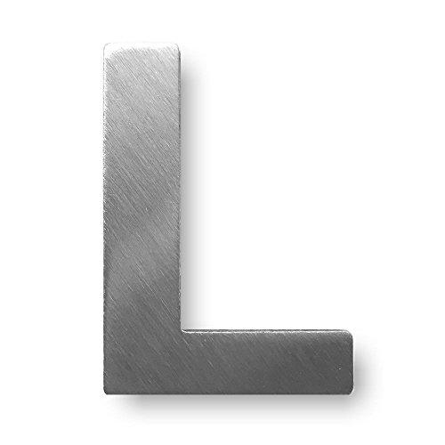 """Metall-Buchstabe """"L"""" aus gebürstetem Edelstahl – Höhe 4cm – Hausnummer, Zimmerbeschriftung, Bürobeschriftung, Türsymbol, Wandbeschilderung – rostfrei und selbstklebend ohne bohren"""