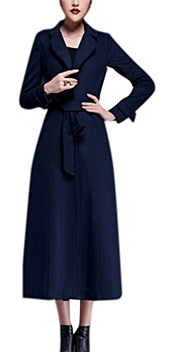 AZIZY Women's Full-Length Sing-Breasted Turn Down Collar Wool Coat with Belt Navy 2XL