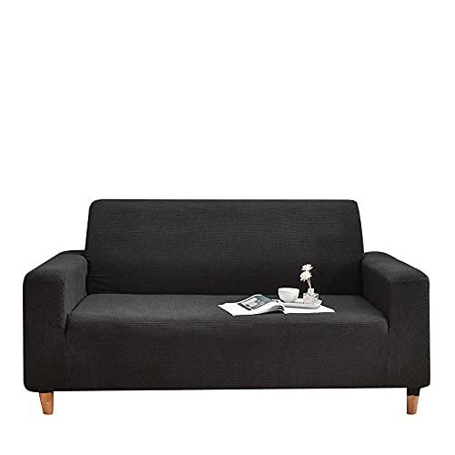 Fundas de sofá de Esquina,Juego de sofás elásticos Cuatro Estaciones Todo Incluido-Negro_230-300cm,Cubre Sofa Universal Tejido de Poliéster