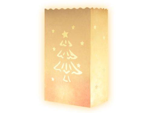 Alsino Lichttüten 10er Set weiß Basic Weihnachtsbaum - Candle Bags Weihnachtsdeko Lanterns Teelicht Papiertüten Kerzentüte Tütenwindlicht, 15 x 26 cm, Dekolicht für Weihnachten