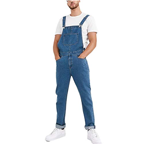 Fansu Herren Jeans Latzhose Overall, Arbeitshosen Lange Jeanshose Retro Denim Arbeitslatzhose Jumpsuit Destroyed Ripped Multifunktion Hose Arbeitskleidung (Blau,L)