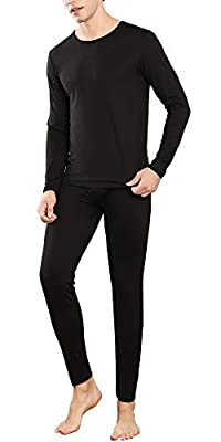 YIMANIE Men's Thermal Underwear Set Long Johns Ultra Soft Top and Bottom Black