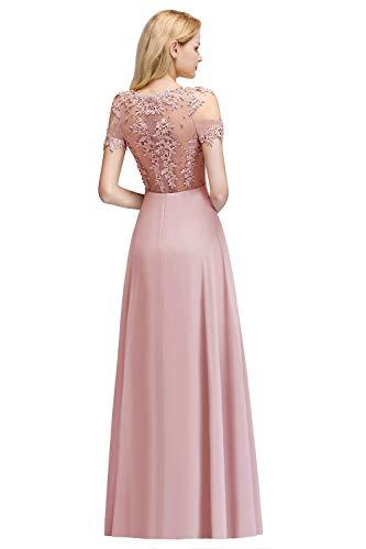 MisShow Damen Festliche Kleider für Hochzeit Abendkleid Ballkleider A Linie Abi Kleider Lang Rosa 46