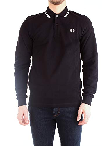 Fred Perry Authentics Slim Fit Long Sleeved Tipped Polo BLAC