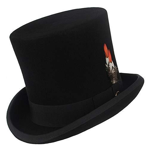 Sombrero Cilíndrico Superior De Plumas De Lana, Sombrero De Copa Otoño Invierno, Disfraz De Fiesta De Sombrerero Loco, Sombrero De Mago Derby(Size:57cm,Color:Negro)
