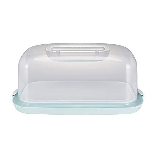keeeper Kastenkuchenbehälter mit Servierplatte, BPA-freier Kunststoff, 43 x 25 x 18 cm, Gino, Mintgrün