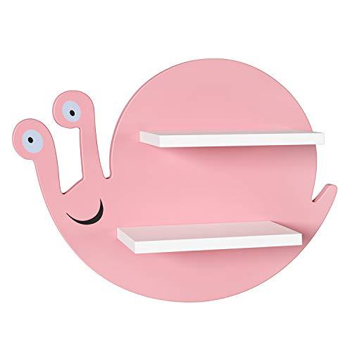 HOMECHO Estantería de Pared Infantil de 2 Niveles para Cuarto de los Niños Salón Dormitorio Estantes Flotante para Niños de Madera en Forma de Caracol Rosa y Blanco 45 x 34 x 12.5 cm