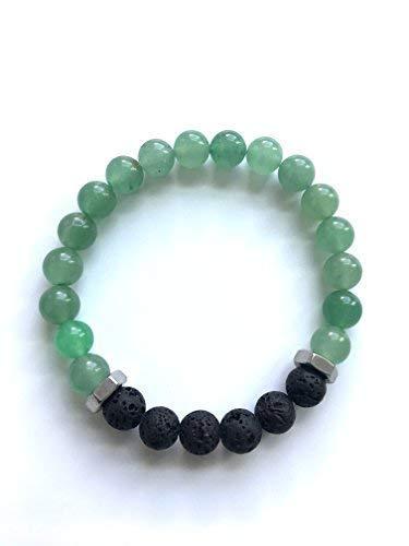 Green Aventurine, GrSteel, and Black Lava Stone Mens Beaded Gemstone Bracelet - Essential Oil Diffuser, Prosperity, Healing Crystal, Green Stone, Luckystone, lava Stone, Essential Oil Diffuser