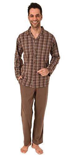 Eleganter Herren Pyjama Schlafanzug lang zum durchknöpfen - auch in Übergrössen bis Gr. 70, Größe2:52, Farbe:braun