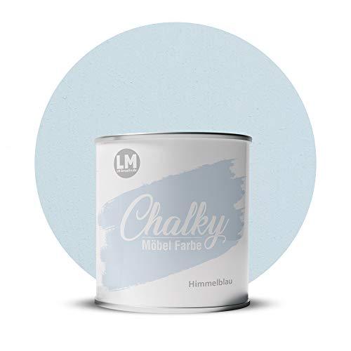 LM-Kreativ Chalky Möbelfarbe deckend 1 Liter / 1,35 kg (Himmel-Blau), matt finish In- & Outdoor Kreide-Farbe für Shabby-Chic, Vintage, Landhaus Stil