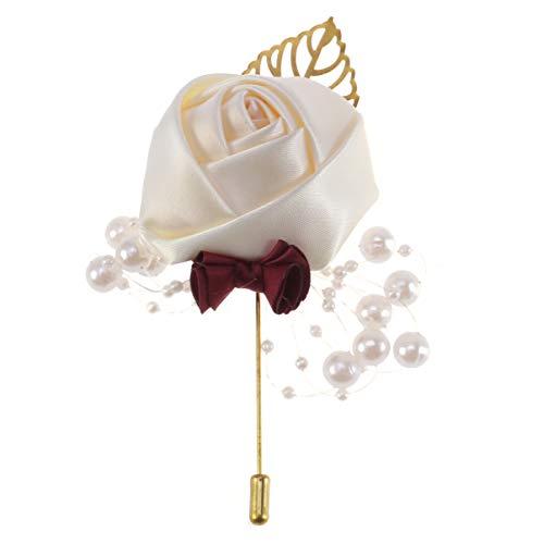 Amosfun 2pcs boutonnière de Mariage pour Hommes Fleur Perle Corsage Broches Corsage Bow pin pour Costume Fleur Artificielle pour Le marié Banquet Anniversaire (Blanc)