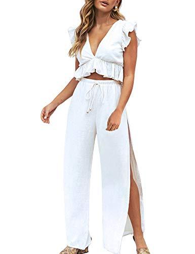 FANCYINN Zweiteiler Damen Sommer 2 Teiler Crop Top und Hose Jumpsuit Elegant Party Outfits Weiß S/Klein