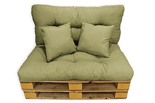 Conjunto 4 Piezas Sofá Palets, Asiento Palet 120x80 cm + Respaldo + Dos Cojines. Cómodo y Elegante para Interior y Exterior (Arena)