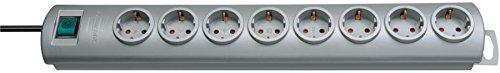Brennenstuhl Primera-Line, Steckdosenleiste 8-fach (Steckerleiste mit Schalter und 2m Kabel, 90° Anordnung der Steckdosen) silber