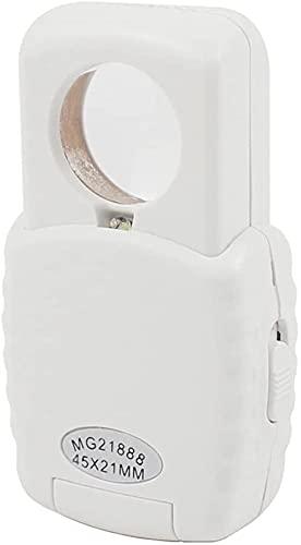 ASDF Lupa multifuncional portátil de 45 x lupas LED plegable lupa de bolsillo para baja visión, sellos, regalo (color blanco