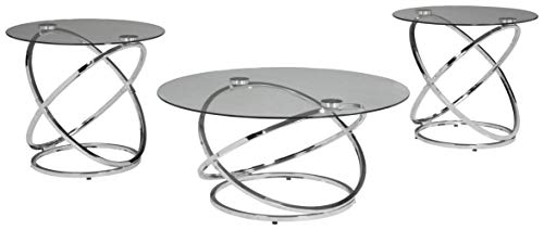 Madanere Contemporary 3-Piece Table Set - Includes Cocktail Table & Two End Tables, Chrome Finish