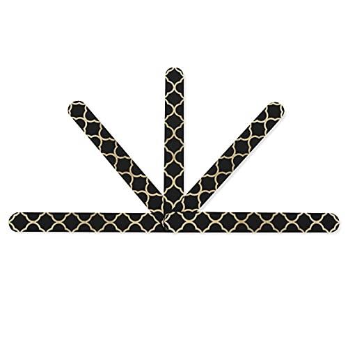 Lot de 5 limes à ongles élégantes géométriques noires imitation or - Double face - Grain 100/180 - Pour manucure et pédicure - Pour femme et fille