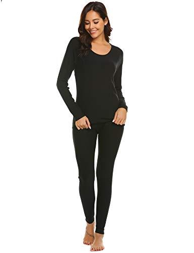 Ekouaer Women's Thermal Ultra Soft Long Johns Underwear Base Layer Set Top&Bottom(Black,XX-Large)