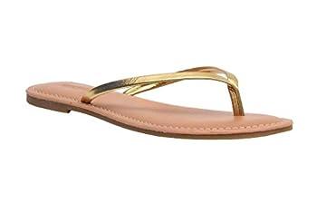Cushionaire Women s Cora Flat Flip Flop Sandal Gold 8.5 with +Comfort