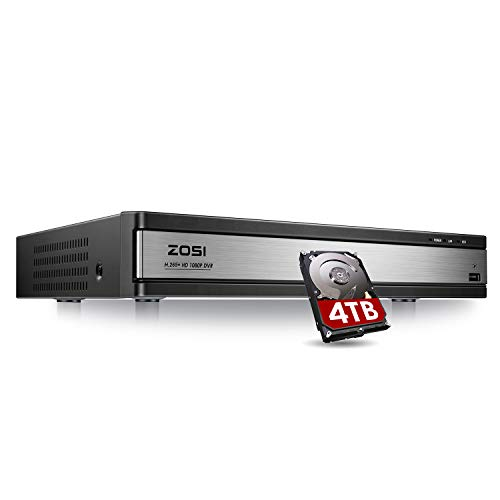 ZOSI Full 1080p HD H.265+ 16 Channel DVR for Security Camera, Hybrid 4-in-1 (Analog/AHD/TVI/CVI) CCTV DVR Surveillance System with Hard Drive 4TB,Motion Detection,Mobile Remote Control,Email Alarm
