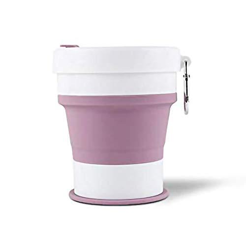 KYSM Creative Tasse À Café Sports en Plein Air Tasse Voyage Portable Silicone Télescopique Pliant Tasse 550 ML Violet Poudre