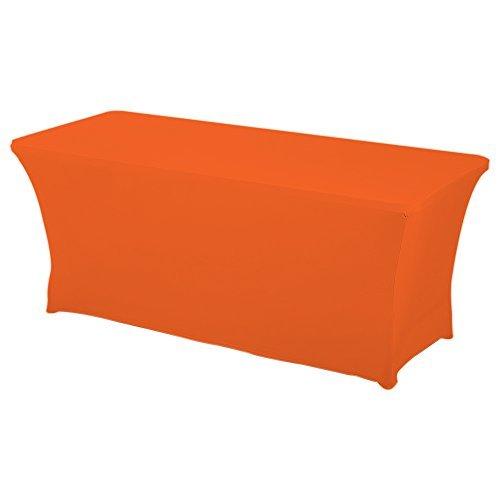 HAORUI Spandex Stretch Lycra Table de 183cm Couverture de Tissu rectangulaire Table à chevalets Banquet de Mariage(183×76×76cm Orange)