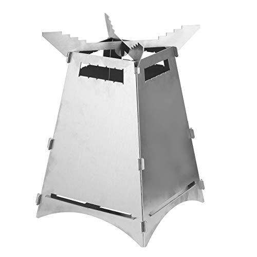 Hornillo de camping, plegable, de madera, con bolsa de almacenamiento, carburador de madera, estufa de leña, estufa de camping de acero inoxidable para picnic, senderismo, camping