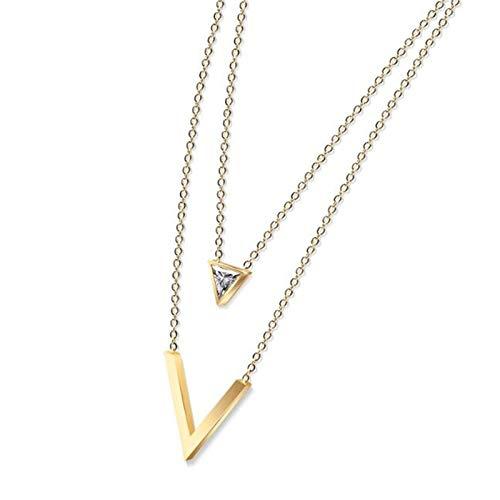 XinLuMing Moda en Forma de V de triángulo de triángulo de clavícula Collar de Oro Rosa (Color : C)