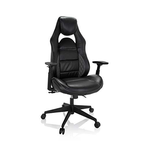 hjh OFFICE Lüllmann 738128 Imola RC 01 - Silla de oficina giratoria (piel sintética), color negro y gris