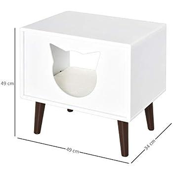 Pawhut Maison pour Chat Design Contemporain sur Pied Niche Chat entrée tête Chat Coussin Inclus dim. 49L x 34l x 49H cm MDF Blanc Noir