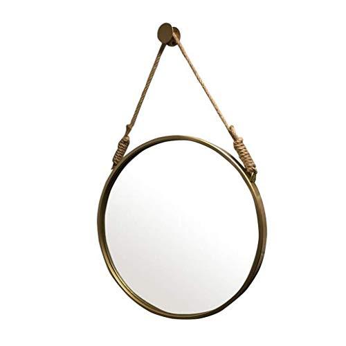 LYN wandspiegel, badkamerspiegel, badkamerspiegel, aan de muur bevestigde retro ronde metalen spiegel met touw-hangend slaapkamerhuis