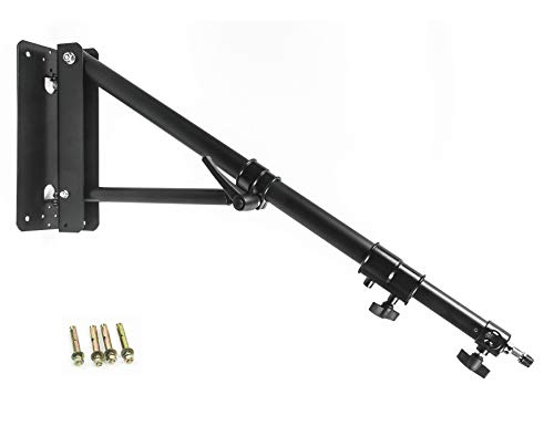 PHOCUS Wall Mount Boom Arm for Photography Studio Video Strobe Lights, Max Length 51 inches /130 cm, Horizontal and Vertical Rotatable