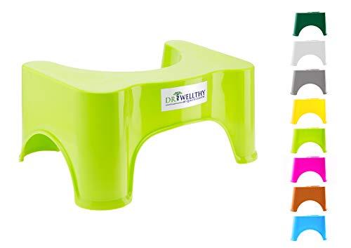 Dr. Wellthy — Sgabello per WC, gabinetto — Antiscivolo, Anti-costipazione, Migliore posture - Aiuta con IBS, emorroidi e altri problemi - Salvaspazio, compact (Verde)
