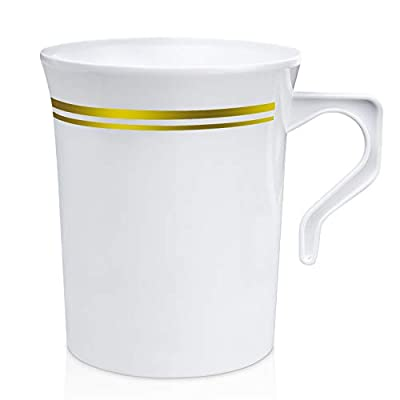 [24 Pack] 8 oz. Plastic Coffee Cup with Handle - White Gold Rim Disposable Tea Cups, Soup, Cappuccino Espresso Mug, Hot or Cold Drinks, Wedding Party, Cafe, Ceramic and Glass Dinnerware Alternative