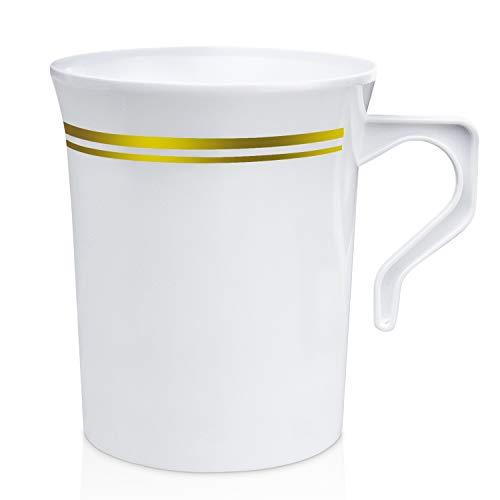 Kunststoff-Kaffeetasse mit Henkel – Einweg-Teetassen, Suppe, Cappuccino, Espresso-Tasse, heiße oder kalte Getränke, Hochzeit, Party, Café, Keramik und Glas, 227 ml 8 oz Goldrand