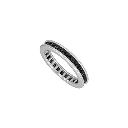 14K White Gold Mens Black Diamond Eternity Ring with Nine Carat Totaling Diamonds