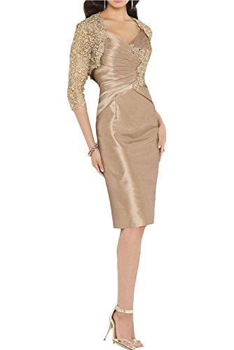 La_mia Braut Champagner Etuikleider Brautmutterkleider Abendkleider Abschlussballkleider Knielang Festlichkleider mit Jaket-42 Champagner