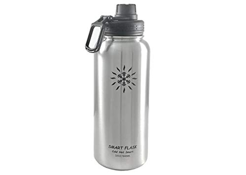 32oz Stainless Steel, Wide Mouth, Vacuum Insulated, Double Walled Water Bottle with Leakproof Sports Lid. (Stainless Steel)