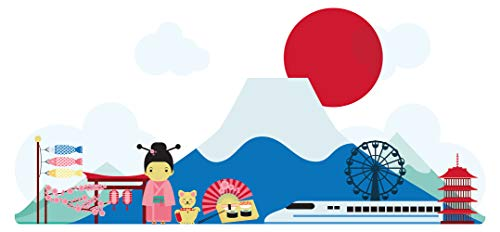 dekodino® Wandtattoo Asien Landschaft mit Gebirge und Motiven Wanddekoration