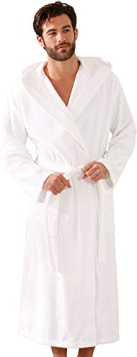 Morgenstern Bademantel Herren mit Kapuze Bio-Baumwolle Frottee Weiß Herrenbademantel Morgenmantel Saunabademantel Herr wadenlang Größe L