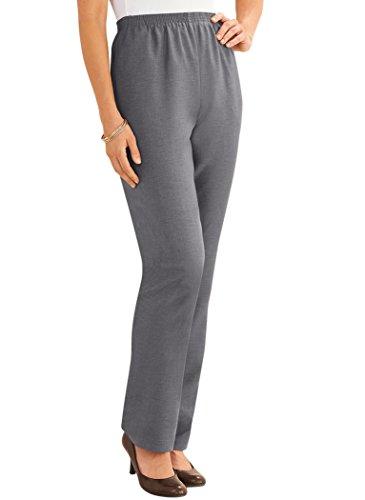 Alfred Dunner Pants – Comfortable Straight Leg Pull-on Pants for Women Gray 16 Misses