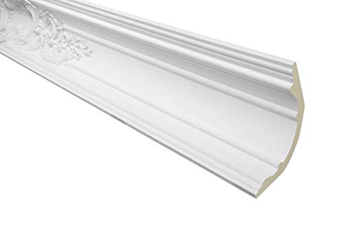 2 Meter Zierprofil 125x120mm - Stuckleiste aus PU gemustert, weiß, stoßfest - AA110 Hexim Perfect - Eckleiste Dekorleiste Stuckprofil Zierleiste