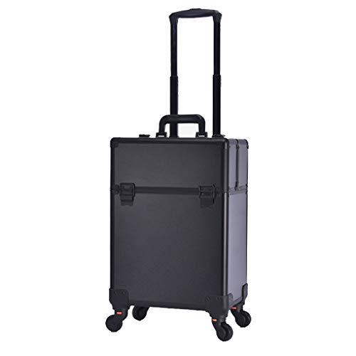 AOHMG Maquillage Valise Trolley, Aluminium Portable Mallette à Maquillage Valise, avec verrouillables Touches/Roues 360 degreed,Black