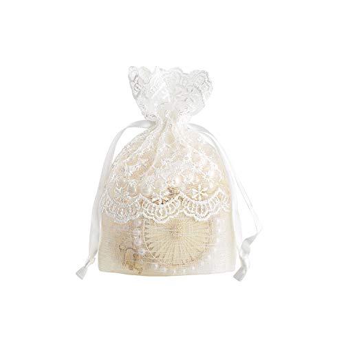 5 Stück 10 x 14 cm Geschenktasche, weiß, Stern, Spitze, Beutel mit Kordel