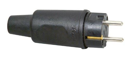Kopp 179516047 Schutzkontakt-Stecker mit Knickschutztülle IP44, großes Modell, schwarz