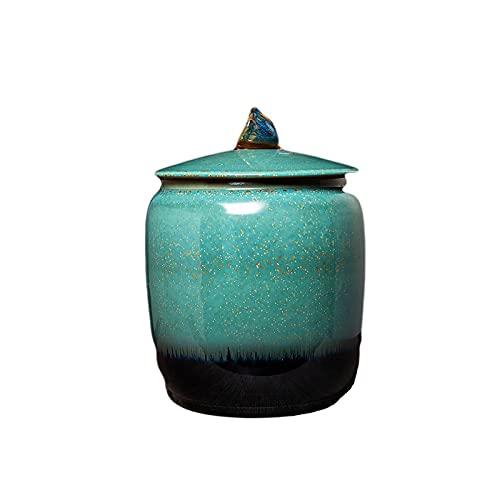 LIUTIAN Canes de thé en céramique Jingdezhen, boîtes de Stockage scellées, boîtes de Rangement des ménages avec couvercles, utilisées pour Les Produits secs, Poudre, thé, café (Size : Short)
