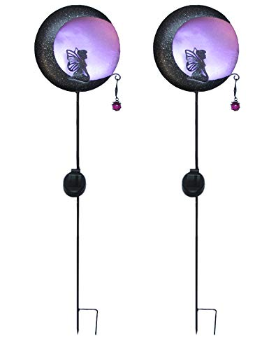 2-er Set Solar Metall Gartenstecker, Motiv: Elfe im Mondlicht in der Farbe violett oder blau, bis zu 6 Stunden Leuchtdauer, schnelle & einfache Motage, inkl 400mAh Akku (violett)