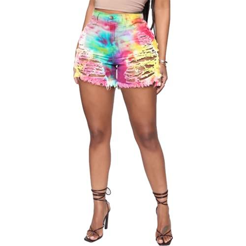 Corumly Pantalones Cortos de Mezclilla para Mujer con Personalidad Pantalones Cortos de Mezclilla con Tendencia de Agujero Rasgado Sexy Pantalones Cortos de Moda de Tendencia callejera 4XL